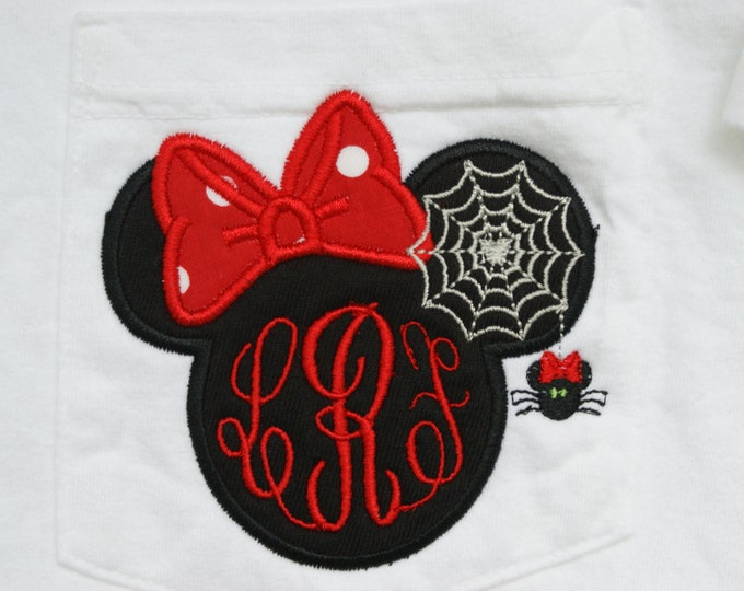 LONG SLEEVE - Ms. Mouse spooky spider monogrammed tee- perfect for Halloween in the park
