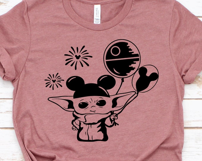 Baby Yoda With Disney Balloons  - Adult, Youth, Toddler, and Tanks-Over 100 Color Choices