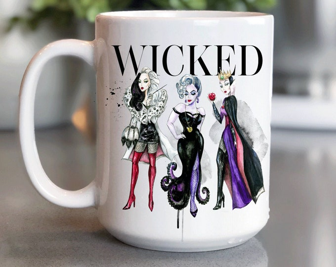 Disney Coffee Mug 15oz, Wicked Disney, Villains, Disney Vogue, Mickey Mug, Coffee Cup Gift for Him Her, Souvenir, Custom Sublimation Design,