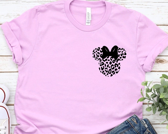 Minnie Leopard Head- Adult, Youth, Toddler, and Tanks-Over 100 Color Choices