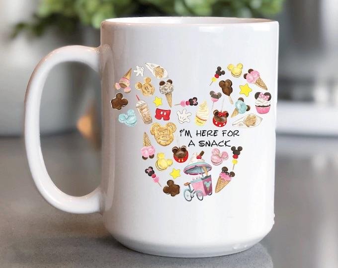 Disney Coffee Mug 15oz, Disney World , I'm Here For A Snacks, Mickey Mug, Coffee Cup Gift for Him Her, Souvenir, Custom Sublimation Design