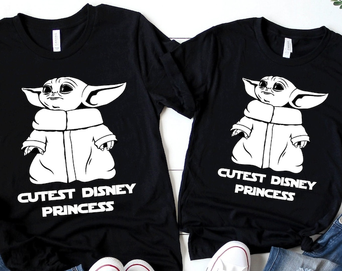 Baby Yoda Cutest Disney Princess -  Disney Vacation Tee - Adult, Youth, Toddler, and Tanks-Over 100 Color Choices