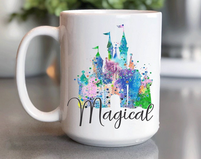 Disney Coffee Mug 15oz, Magical Disney Castle Coffee Mugs, Mickey Mug, Coffee Cup Gift for Him Her, Souvenir, Custom Sublimation Design,