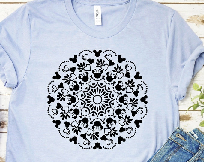 Mickey Head Mandala- Adult, Youth, Toddler, and Tanks-Over 100 Color Choices