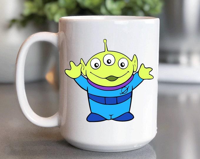 Disney Coffee Mug 15oz, Toy Story Alien, Woody Buzz Lightyear, Mickey Mug, Coffee Cup Gift for Him Her, Souvenir, Custom Sublimation Design