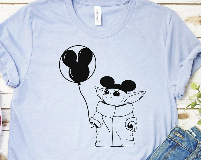 Baby Yoda With Mickey Ears  - Adult, Youth, Toddler, and Tanks-Over 100 Color Choices