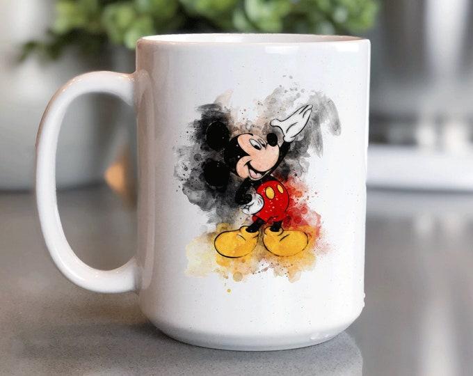 Disney Coffee Mug 15oz, Watercolor Mickey, Disney Vogue, Mickey Mug, Coffee Cup Gift for Him Her, Souvenir, Custom Sublimation Design