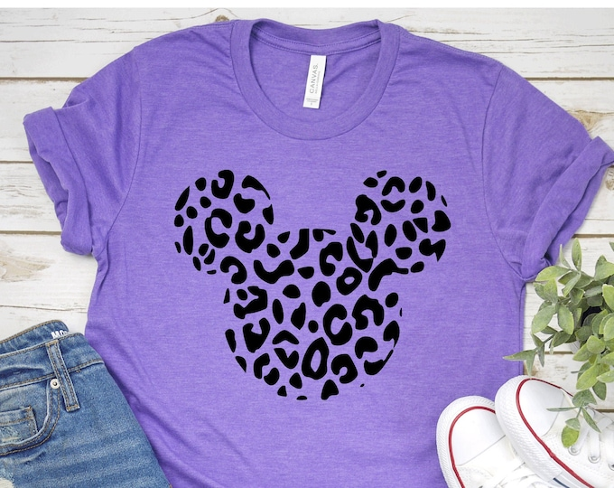 Mickey Leopard Head- Adult, Youth, Toddler, and Tanks-Over 100 Color Choices