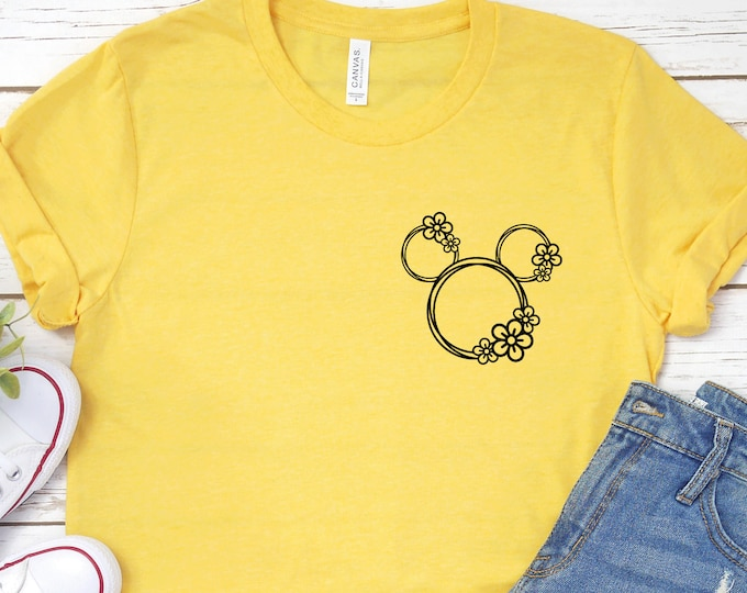 Flower Garden Mickey Head- Adult, Youth, Toddler, and Tanks-Over 100 Color Choices