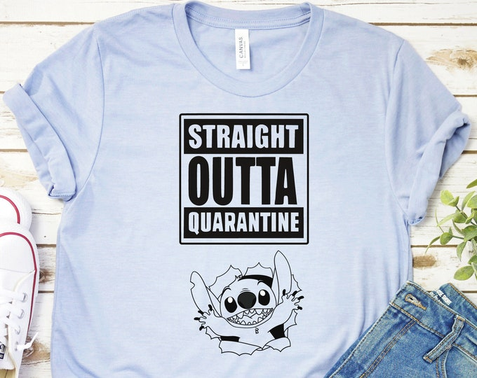 Straight Outta Quarantine, Disneys Lilo and Stitch, Family Vacation, Adult Youth Toddler and Tanks, Tie-Dye