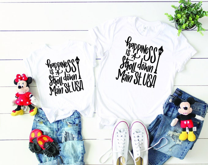 Happiness is a Stroll Down Main Street -  Magical Vacation Tee - Adult, Youth, Toddler, and Tanks-Over 100 Color Choices