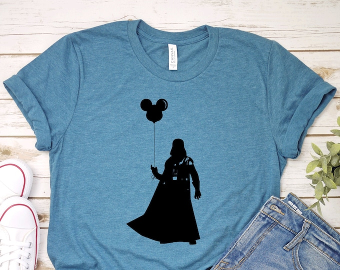 Darth Vader with Mickey Balloon - Star Wars - Adult, Youth, Toddler, and Tanks-Over 100 Color Choices, Tie-Dye