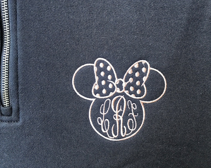 Polka Dot Ms. Minnie Bow -Charles River Quarterzip Sweatshirt - NEW COLORS