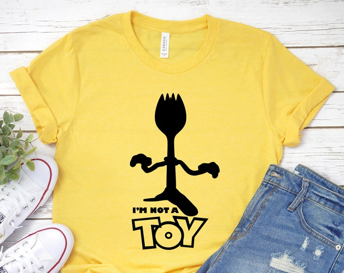 Forky I'm Not A Toy - Toy Story 4 - Adult, Youth, Toddler, and Tanks-Over 100 Color Choices