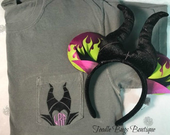Maleficent monogrammed tee- perfect for Halloween in the park