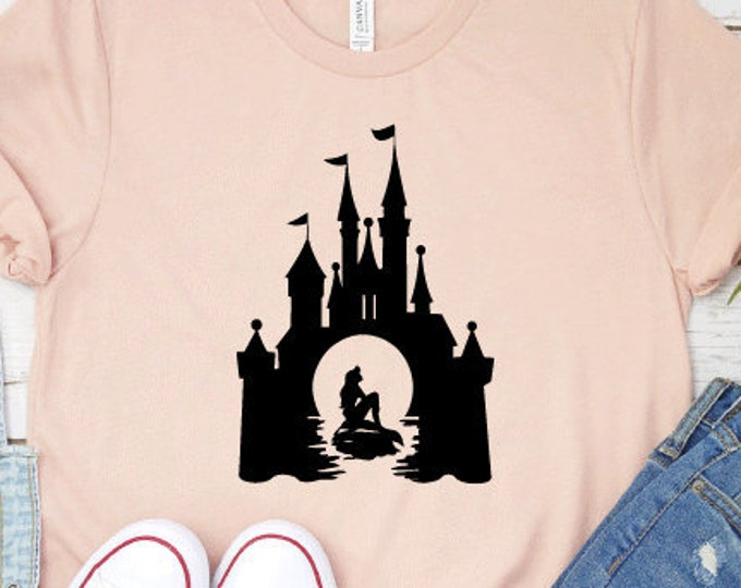 Ariel In The Castle, Disney Shirts, Little Mermaid, Princess Shirt, Adult Youth Toddler and Tanks, Tie-Dye