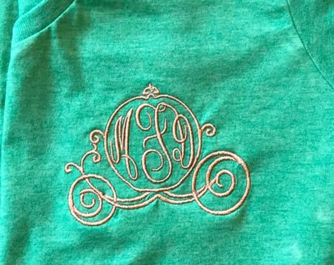 V Neck short sleeve tee - personalized Cinderella Carriage