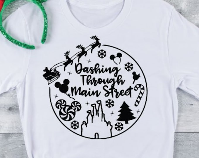 Dashing Through Main Street - Disney Christmas -Mickey Christmas - Disney Christmas Vacation -  Magical Vacation Tee , Tie-Dye