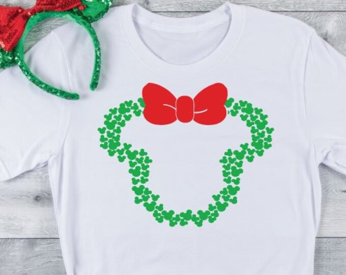 Mickey Wreath - Disney Christmas - Magical Vacation Tee - Adult, Youth, Toddler, and Tanks-Over 100 Color Choices, Tie-Dye