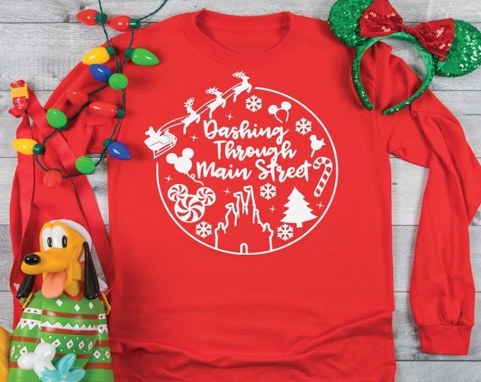 Dashing Through Main Street -  Magical Vacation Tee - Adult and Youth sizes