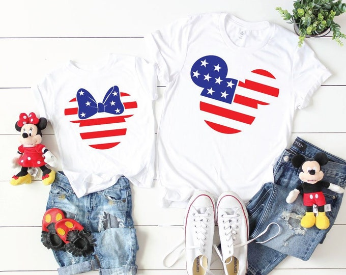 Patriotic Mickey and Minnie-  Magical Vacation Tee - Adult, Youth, Toddler, and Tanks-Over 100 Color Choices