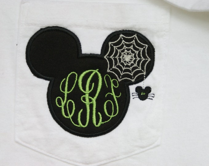 LONG SLEEVE - Mr. Mouse spooky spider monogrammed tee- perfect for Halloween in the park