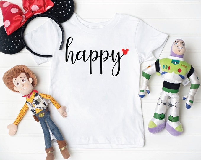 Happy Mickey- Adult, Youth, Toddler, and Tanks-Over 100 Color Choices