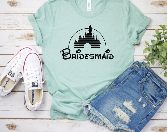 Disney Bridesmaid - Adult, Youth, Toddler, and Tanks-Over 100 Color Choices