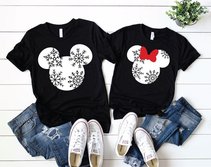 Mickie Minnie Snowflake -  Magical Vacation Tee - Adult, Youth, Toddler, and Tanks-Over 100 Color Choices