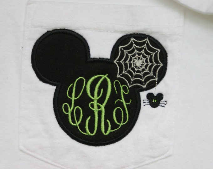 Mr. Mouse spooky spider monogrammed tee- perfect for Halloween in the park