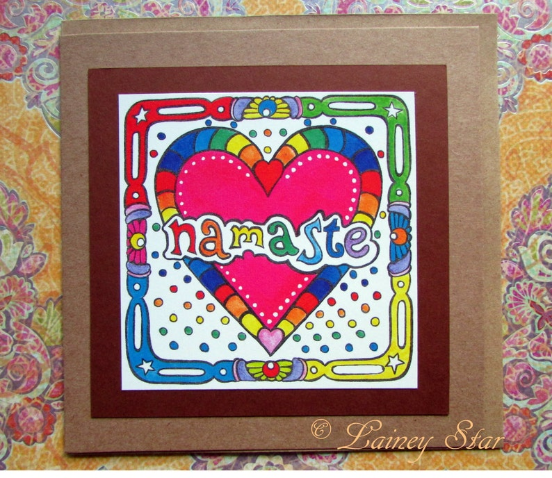 namaste blank greeting card recycled blessing rainbow