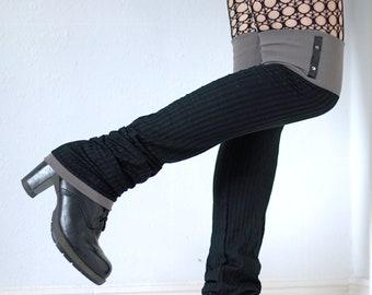 "Leg Warmers ""Grey Studs"" - black goth punk tigh high over the knee"