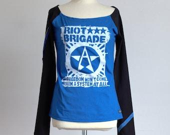 Riot Brigade Raglan Longsleeve Shirt - black & blue - anarcho Punk AF Recharged