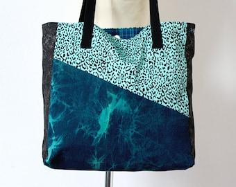 Shoulder Bag - Leopard & Plaid - turquiose + blue, tartan lined tote with magnetic closure
