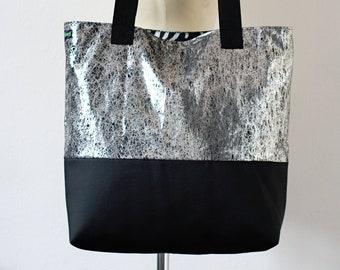 Shoulder Bag - Liquid Silver - black & white zebra lined tote with inner zip pocket