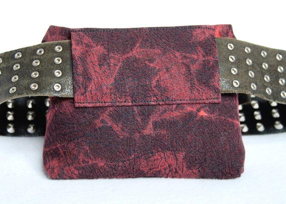 Belt Pouch 2.0 Snake Skin /& Stripes black red and blue punk hip bag