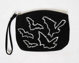 Silver Bats or Bullets Pouch - black organic canvas zipper bag