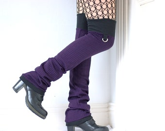 "Leg Warmers ""Purple D-Rings"" - black goth punk tigh high over the knee"