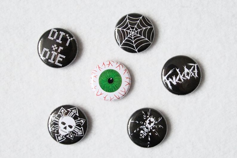 Zebraspider Badge or Set  spider web punk DIY chaos skull image 0