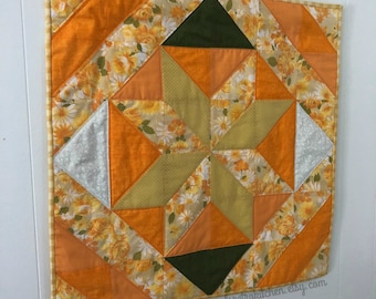 Retro Fall Floral Orange and Cream Wall Hanging