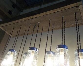 Mason jar chandelier etsy more colors reclaimed barnwood 10 or 16 mason jar chandelier aloadofball Choice Image