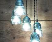 Authentic Vintage Glass Insulator Light Fixture Vintage Glass Chandelier Glass Art U choose your options 3 or 5 Insulator Light Fixture