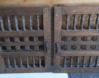 Antique Wood Cabinet Doors Cotter Pins Ornate Handles Unique Woodwork  Details Vintage Wood Cabinet Door Set Wood Cupboard Door Set Pantry