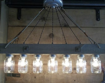 Mason jar chandelier etsy more colors reclaimed barnwood chandelier mason jar aloadofball Choice Image