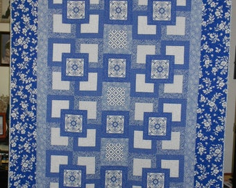 Blue Willow - Twin Size Quilt - Digital Download