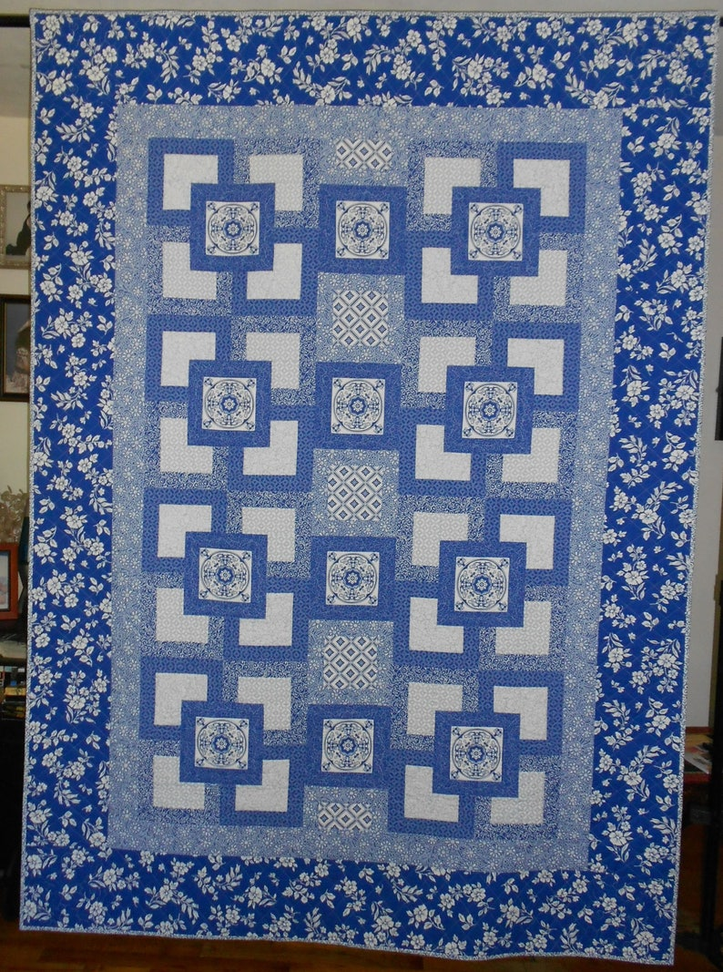 Blue Willow  Twin Size Quilt  Digital Download image 0