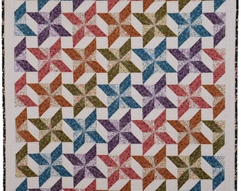Spinning Flowers - Crib Size Quilt - Printed Pattern