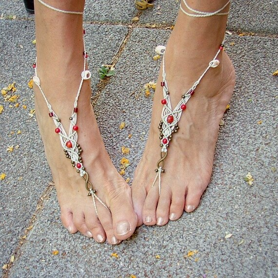 a2acf6f9a1d39c Wedding bridal white barefoot sandals bridal anklets beach