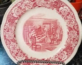 Historical America Red 9.25 quot Scalloped Luncheon Plate by Homer Laughlin China Company Antique Made in 1940 39 s Joseph Boggs Beale