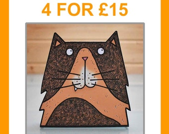 Assorted multipack of 4 3D creature cards - birthday card animal card animal lover card cat card dog card